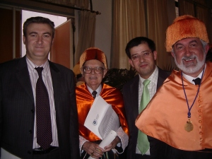 Andrés Navarro, Richard Mattessich, Dionisio Buendía y Daniel Carrasco. (Investidura de Doctor Honoris Causa de Richard Mattessich por la UMA)
